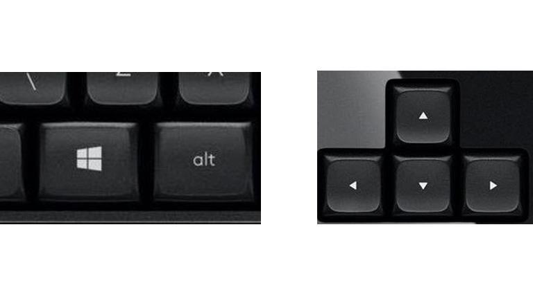 Windows-Taste und Pfeiltasten auf Windows-Tastatur zum Teiles des Bildschirms