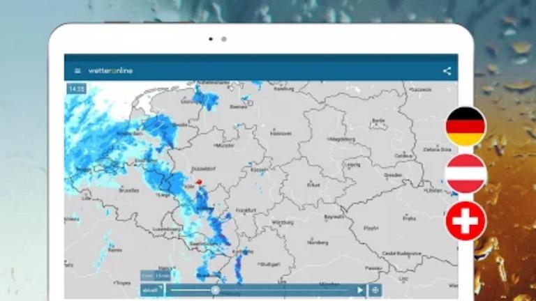 Screenshot RegenRadar-App von WetterOnline