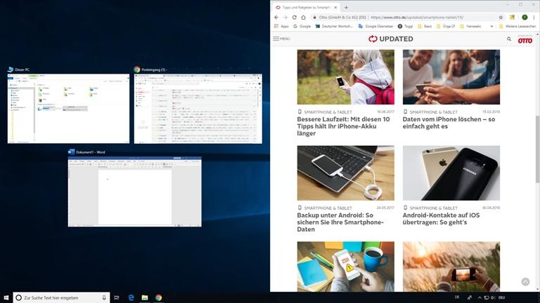 Bildschirm teilen bei Windows 10 mit Snap Assist Screenshot 5