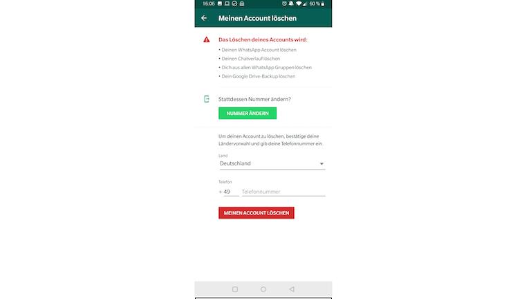 WhatsApp Blockade Account löschen