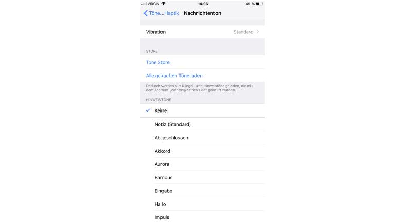 Benachrichtigungstöne in den Einstellungen von iOS