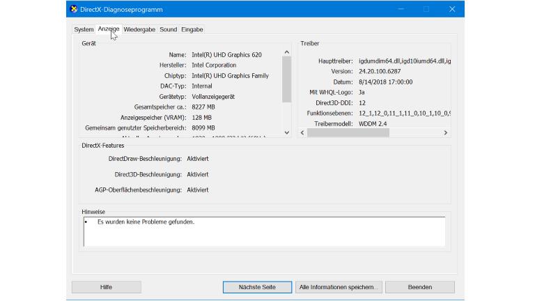 Grafikkarte überprüfen mit DirectX-Tool