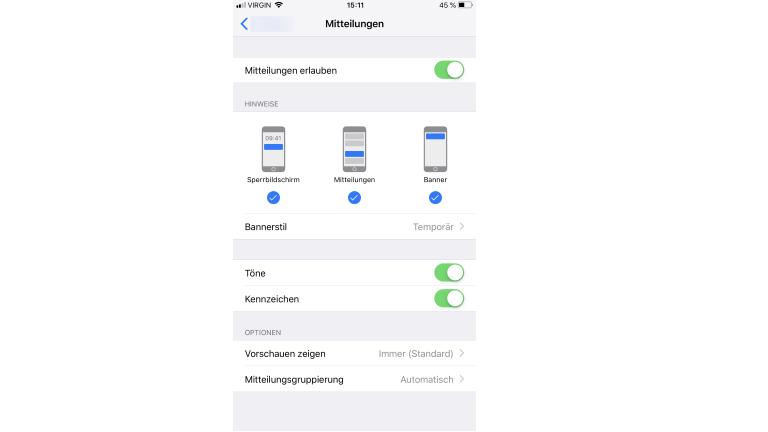 Berechtigungen für WhatsApp in iOS