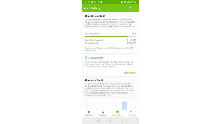 Handy-Akku Android: Ladekapazität abrufen