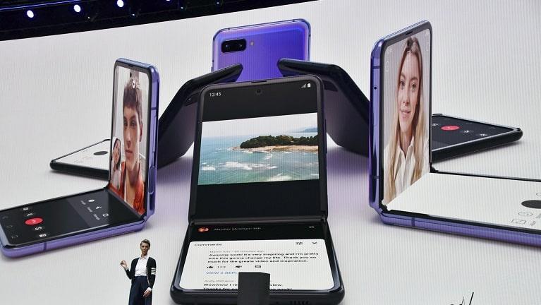 Das Samsung Galaxy Z Flip bei seiner Vorstellung.