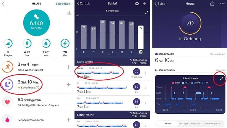 Fitbit Schlafphasen: App analysiert Schlafdaten