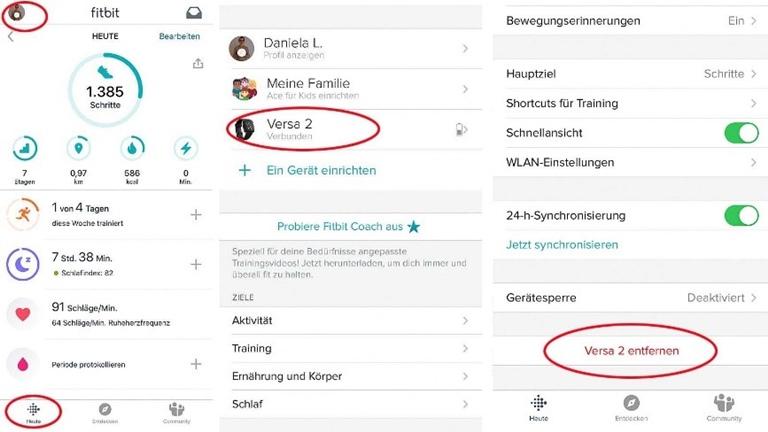 Fitbit synchronisiert nicht: Andere Geräte aus dem Fitbit-Konto entfernen