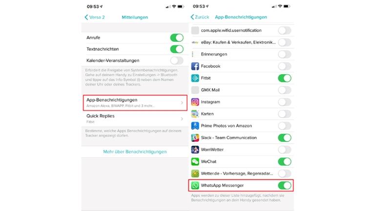 App-Benachrichtigungen aktivieren in der Fitbit-App