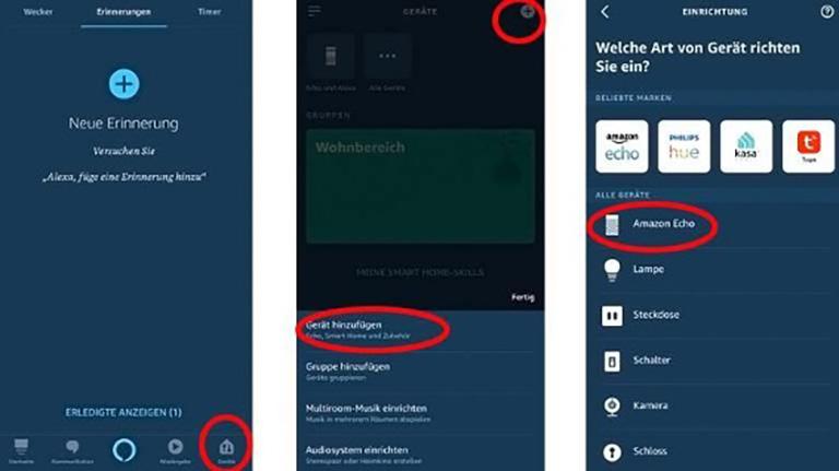 Verbindung der Alexa-App mit Amazon Echo auf dem Smartphone