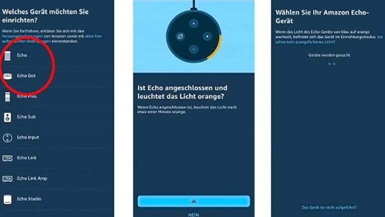 Amazon Echo oder Echo Dot durch Auswahl in der Alexa-App einrichten
