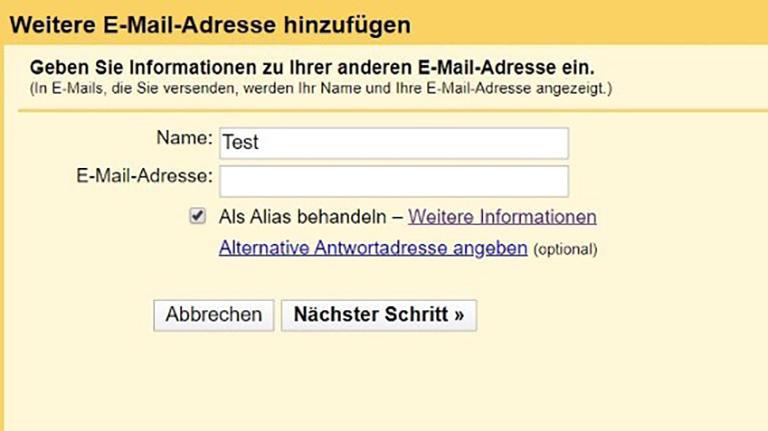 Gmail andere Adresse verwenden