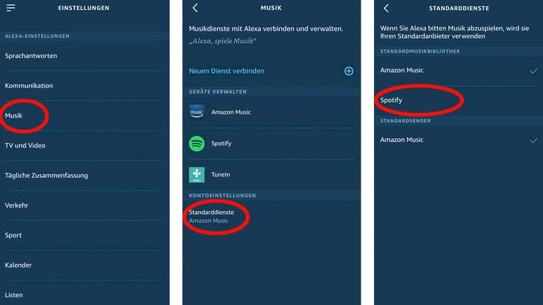 Spotify in der Alexa-App als Standard-Player einstellen