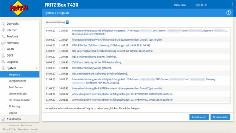 Fritzbox-WLAN geht nicht: Ereignisprotokoll aufrufen