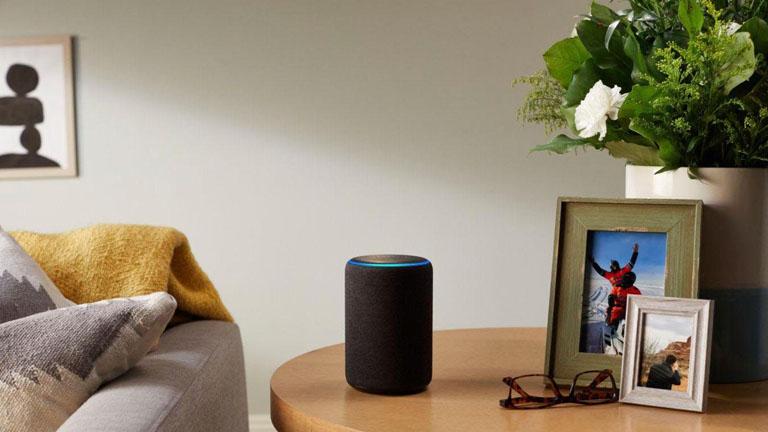 Amazon Echo steht im Wohnzimmer
