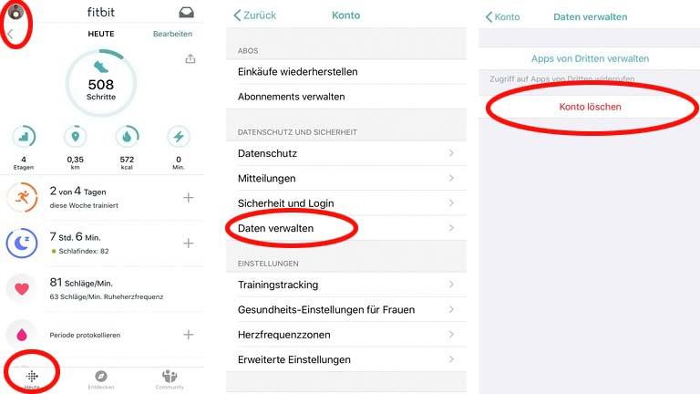 Fitbit-Konto löschen per App oder über das Fitbit.com-Dashboard