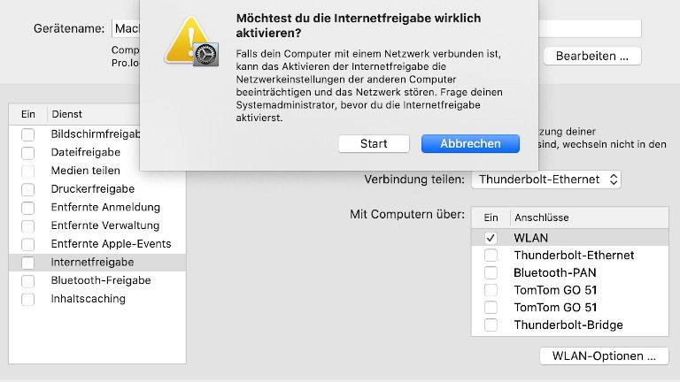 Hotspot einrichten beim Mac
