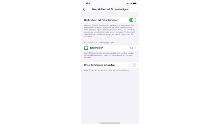 Nachrichten mit Siri ankündigen aktivieren