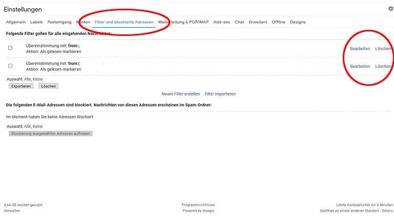 Gmail-Filter bearbeiten oder löschen: Am Computer ist beides möglich