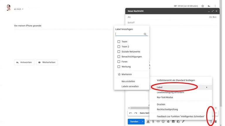 Gmail-Label zu eigenen Nachrichten beim Schreiben hinzufügen