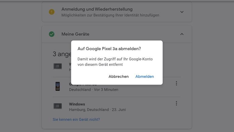 Geräte vom Google-Konto entfernen