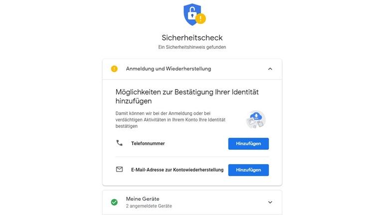 Google-Konto Identität bestätigen