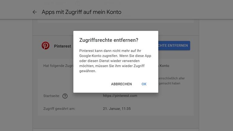 Google-Konto Apps den Zugriff verwehren