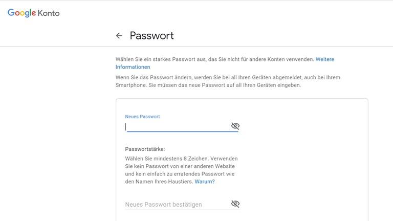 Google-Konto-Passwort ändern