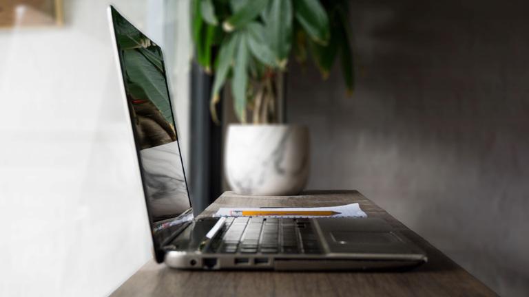 Schwarzer Bildschirm nach Neustart: Laptop auf Tisch mit Pflanze