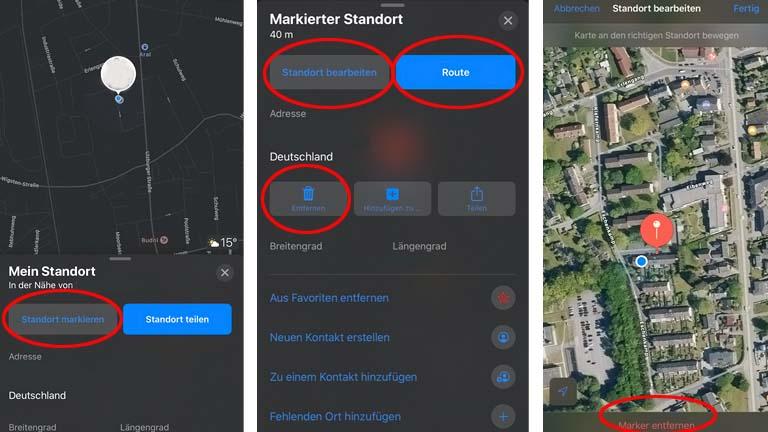 Auto-Standort in der Karten-App markieren