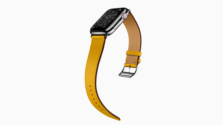 Die Apple Watch Series 6 in der Hermès-Variante mit Leder-Armband und Sattelgurtschnalle.