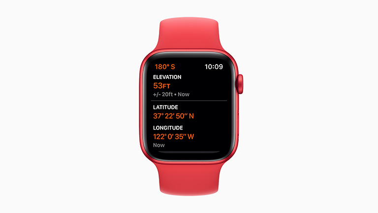 Die Apple Watch Series 6 im roten Alu-Gehäuse mit One-Loop-Gummi-Armband.