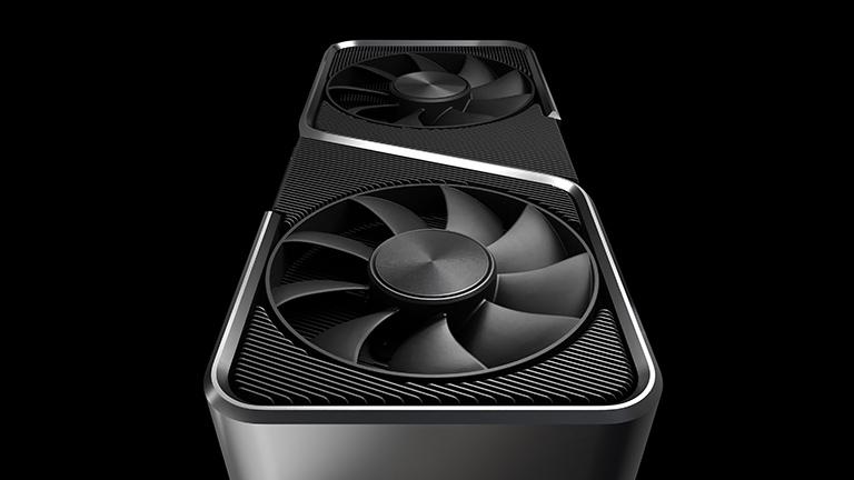 Ein Blick auf die Lüfter der neuen Nvidia-Grafikkarten der RTX-3000-Serie.