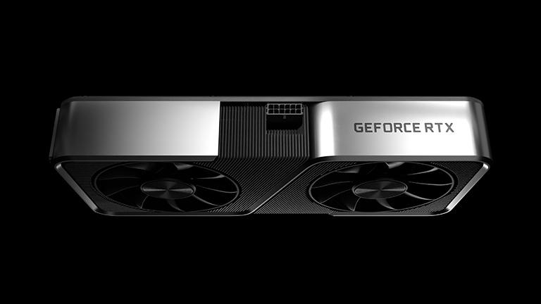 Seitenansicht einer neuen Nvidia-Karte der 3000er-Serie.