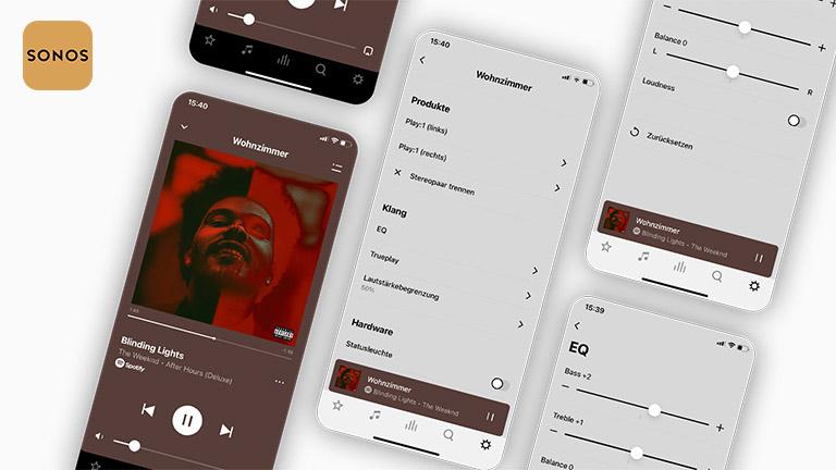 Der Equalizer der Sonos-App auf mehreren Screenshots. Die Auswahlmöglichkeiten sind begrenzt.