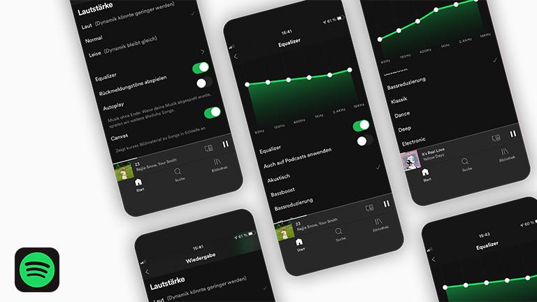 Mehrere Screenshots zeigen die verschiedenen Auswahlmöglichkeiten des Equalizers von Spotify.