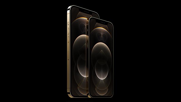 Produktfoto des iPhone 12 Pro und des iPhone 12 Pro Max in Gold.