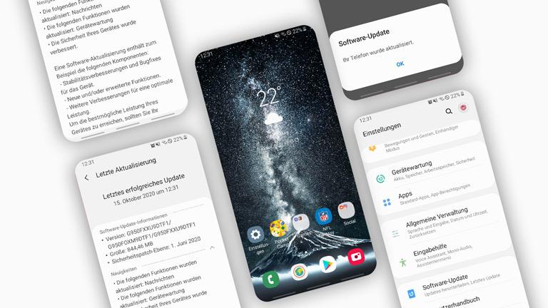 Screenshots vom Update-Vorgang auf einem Samsung Galaxy S8.
