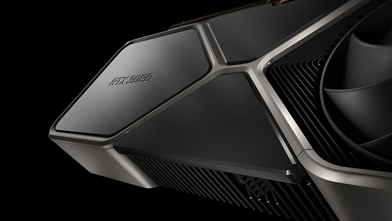 Die GeForce RTX 3080 in einer Nahaufnahme der Oberseite.