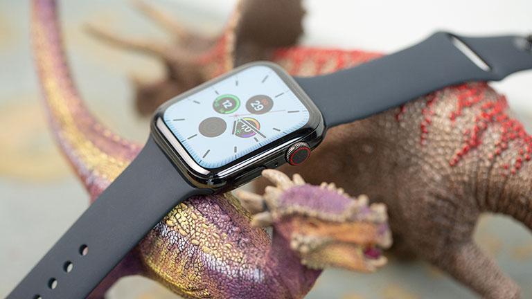 Eine Apple Watch mit schwarzem Armband ruht dekorativ auf zwei Spielzeug-Dinosaurieren. Auf dem Display ist die Uhrzeit zu lesen.