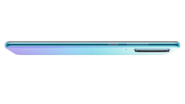 Ein liegendes Huawei P30 in der Seitenansicht.