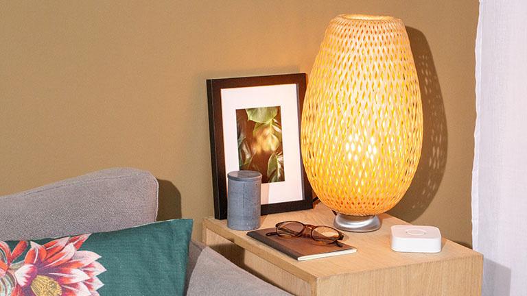 Eine IKEA-Lampe mit einer Tradfri-Birne. Daneben steht eine Hue-Bridge.