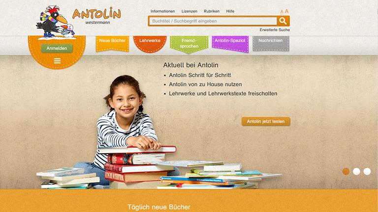 Die Startseite von Antolin, aufgerufen in einem Browser.