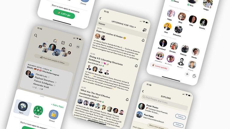 Mehrere Screenshots zeigen unterschiedliche Bereiche der App Clubhouse.