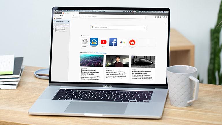 Der Startbildschirm von Firefox auf einem MacBook Pro.