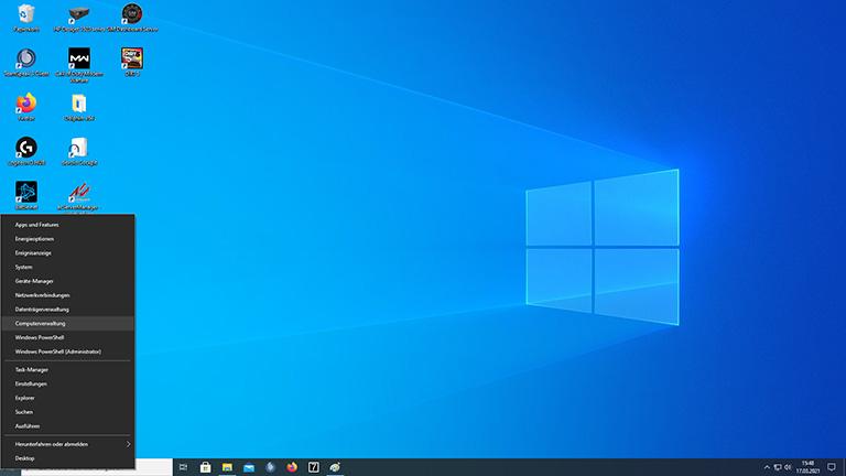 Screenshot des geöffneten Windows-Menüs mit ausgewählter Computerverwaltung.