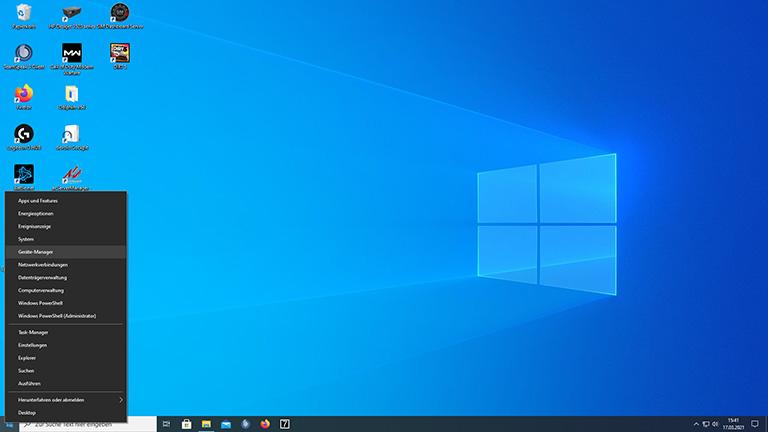 Screenshot vom Windows-Menü mit ausgewähltem Gerätemanager.