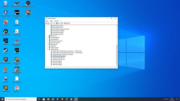 Screenshot des geöffneten Gerätemanagers unter Windows 10.