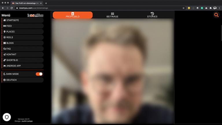 Screenshot der Web-App von izoomYou.