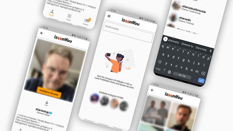 Mehrere Screenshots der Smartphone-App von izoomYou.