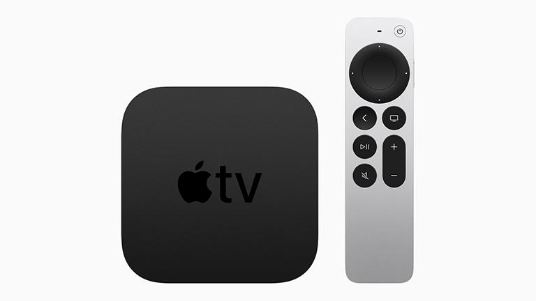 Produktbild von Apple TV 4K samt der neuen Siri Remote.
